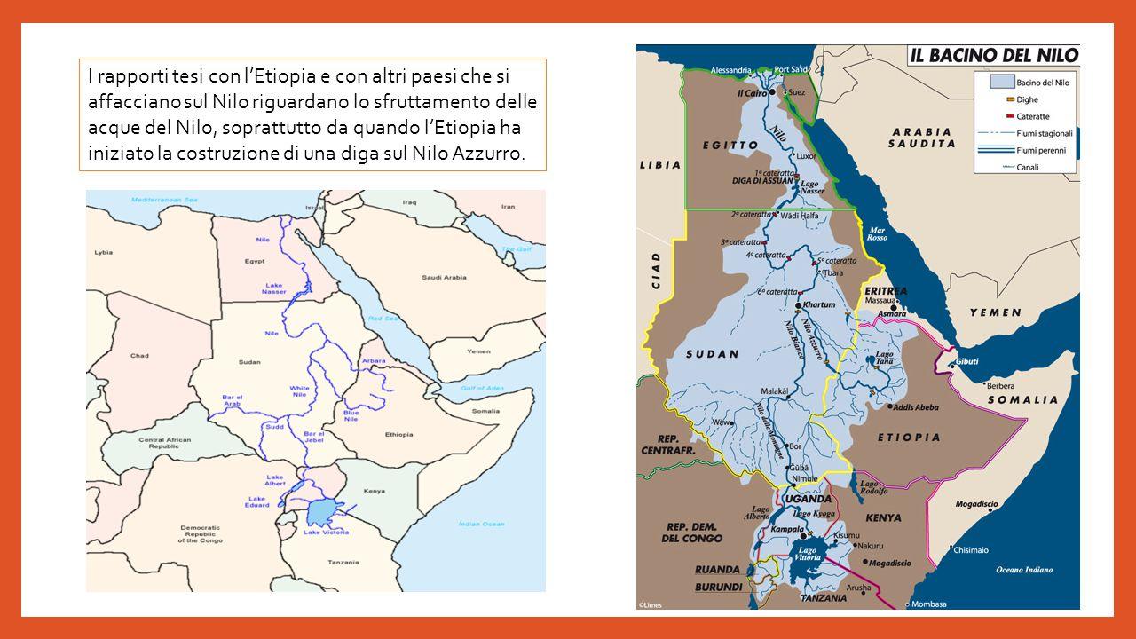 I rapporti tesi con l'Etiopia e con altri paesi che si affacciano sul Nilo riguardano lo sfruttamento delle acque del Nilo, soprattutto da quando l'Etiopia ha iniziato la costruzione di una diga sul Nilo Azzurro.