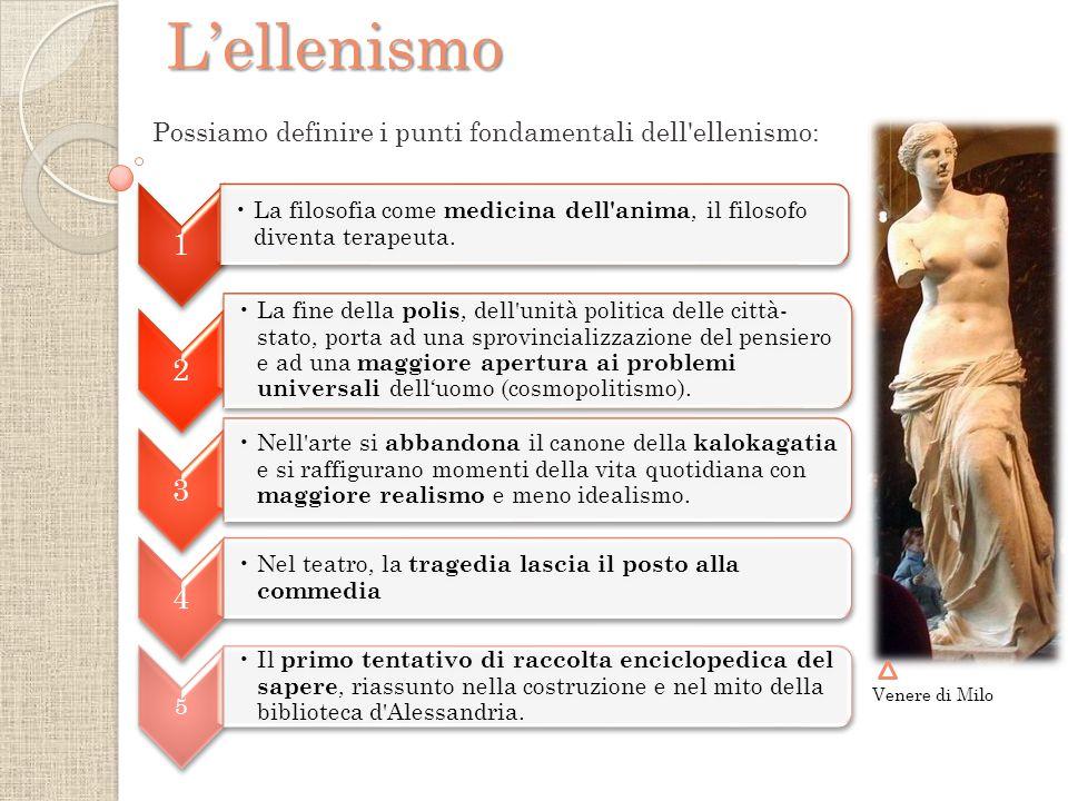 Possiamo definire i punti fondamentali dell ellenismo:L'ellenismo Venere di Milo 1 La filosofia come medicina dell anima, il filosofo diventa terapeuta.