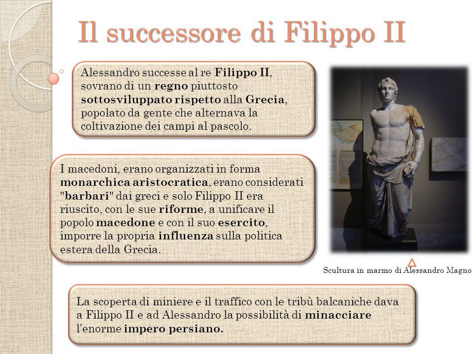 Il successore di Filippo II Scultura in marmo di Alessandro Magno Alessandro successe al re Filippo II, sovrano di un regno piuttosto sottosviluppato rispetto alla Grecia, popolato da gente che alternava la coltivazione dei campi al pascolo.