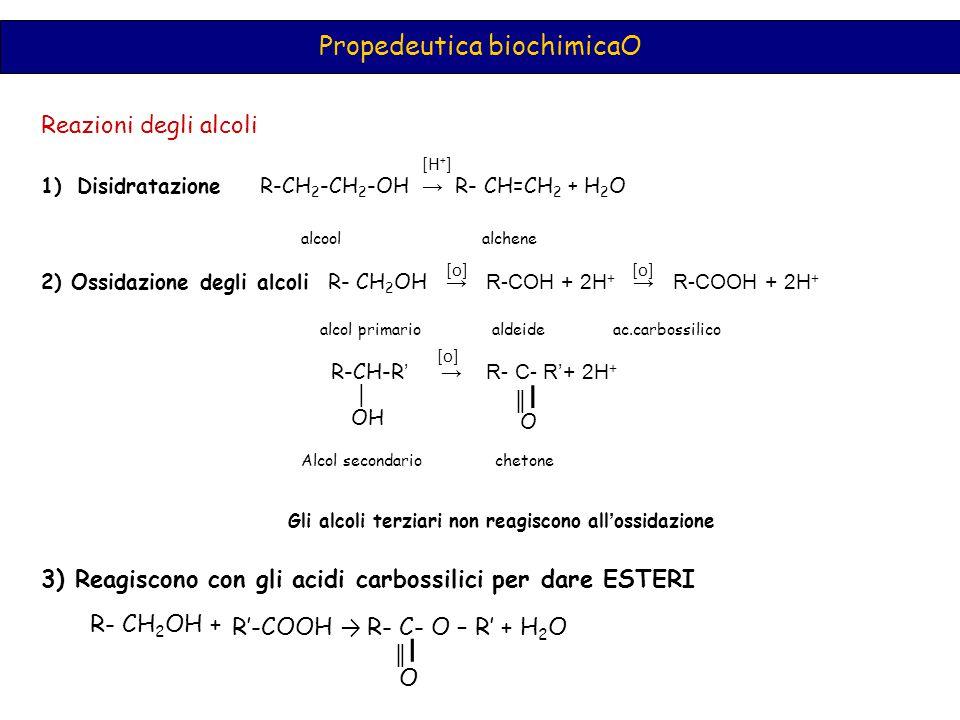 Propedeutica biochimicaO Reazioni degli alcoli 1)Disidratazione R-CH 2 -CH 2 -OH → R- CH=CH 2 + H 2 O alcool alchene 2) Ossidazione degli alcoli R- CH 2 OH → R-COH + 2H + → R-COOH + 2H + alcol primario aldeide ac.carbossilico R-CH-R ' → R- C- R'+ 2H + [H + ] [o] │ OH ║I║I O Alcol secondario chetone [o] Gli alcoli terziari non reagiscono all ' ossidazione 3) Reagiscono con gli acidi carbossilici per dare ESTERI R- CH 2 OH + R'-COOH → R- C- O – R' + H 2 O ║I║I O
