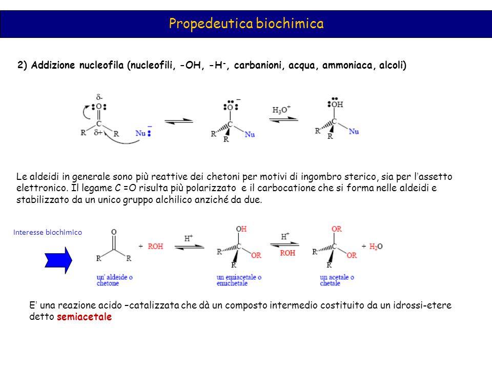 Propedeutica biochimica 2) Addizione nucleofila (nucleofili, -OH, -H -, carbanioni, acqua, ammoniaca, alcoli) Le aldeidi in generale sono più reattive dei chetoni per motivi di ingombro sterico, sia per l ' assetto elettronico.