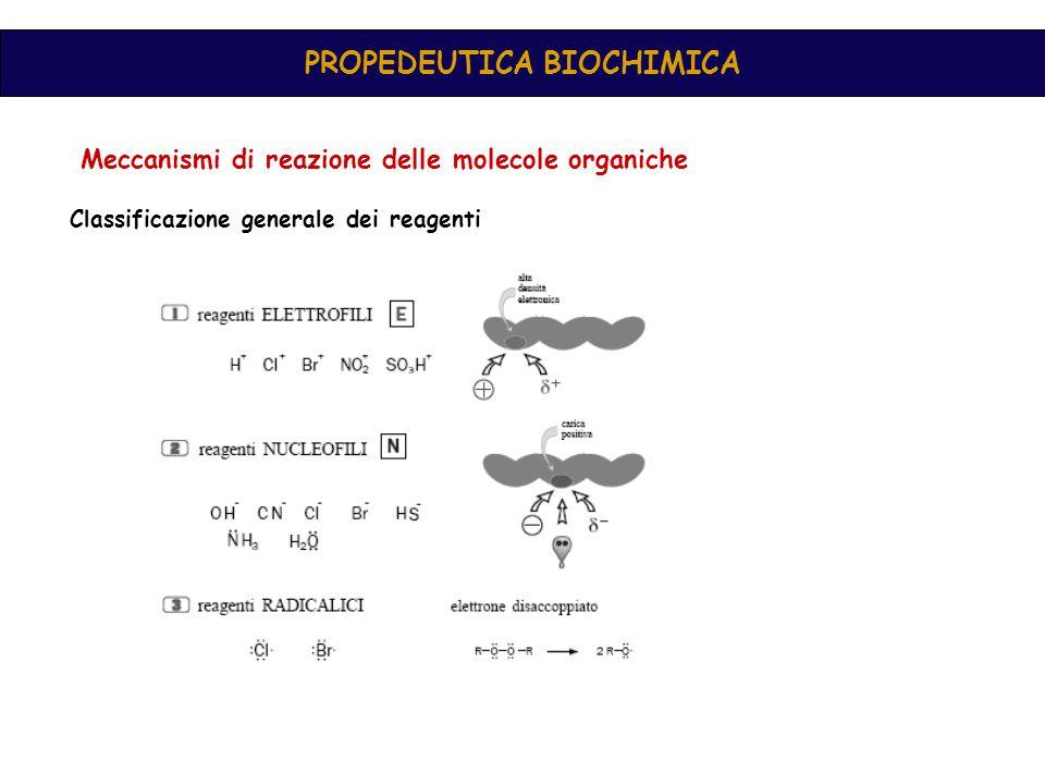 PROPEDEUTICA BIOCHIMICA Meccanismi di reazione delle molecole organiche Classificazione generale dei reagenti