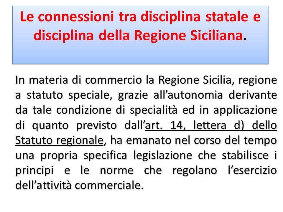 Le connessioni tra disciplina statale e disciplina della Regione Siciliana. In materia di commercio la Regione Sicilia, regione a statuto speciale, gr