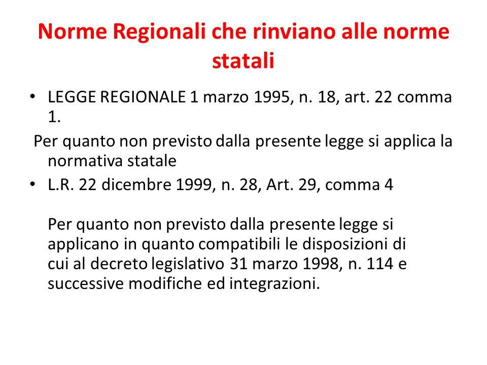 Norme Regionali che rinviano alle norme statali LEGGE REGIONALE 1 marzo 1995, n. 18, art. 22 comma 1. Per quanto non previsto dalla presente legge si