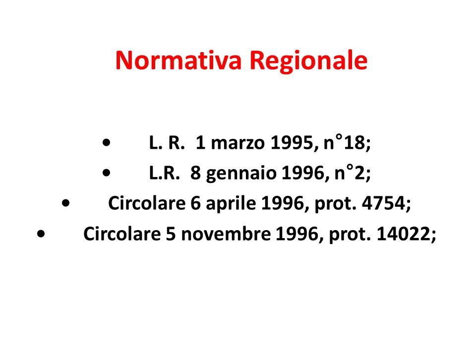 Normativa Regionale L. R. 1 marzo 1995, n°18; L.R. 8 gennaio 1996, n°2; Circolare 6 aprile 1996, prot. 4754; Circolare 5 novembre 1996, prot. 14022;