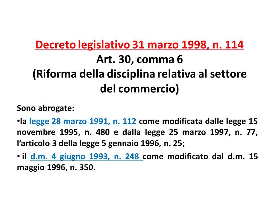Decreto legislativo 31 marzo 1998, n. 114 Art. 30, comma 6 (Riforma della disciplina relativa al settore del commercio) Sono abrogate: la legge 28 mar