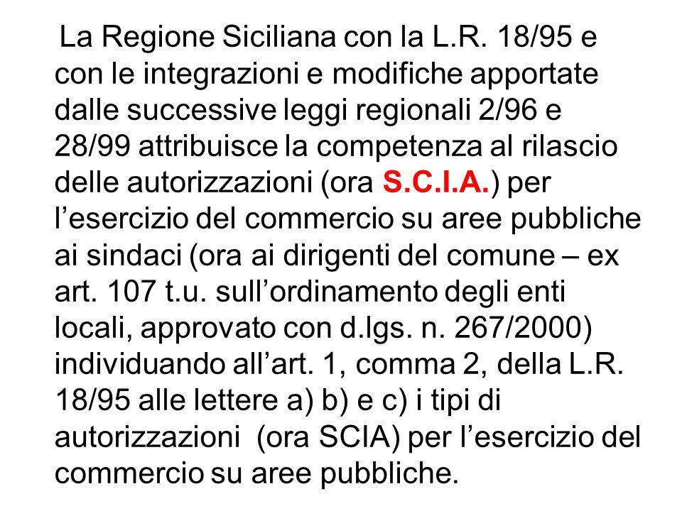 La Regione Siciliana con la L.R. 18/95 e con le integrazioni e modifiche apportate dalle successive leggi regionali 2/96 e 28/99 attribuisce la compet