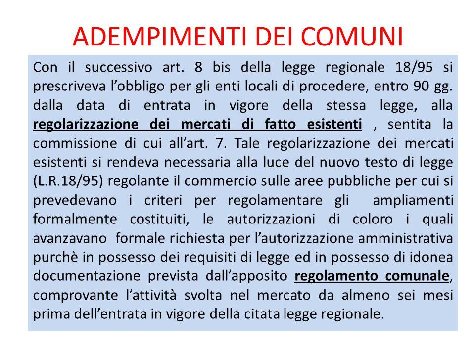 ADEMPIMENTI DEI COMUNI Con il successivo art. 8 bis della legge regionale 18/95 si prescriveva l'obbligo per gli enti locali di procedere, entro 90 gg
