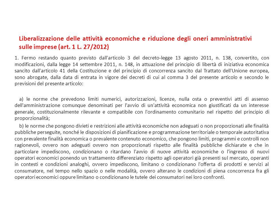 Liberalizzazione delle attività economiche e riduzione degli oneri amministrativi sulle imprese (art. 1 L. 27/2012) 1. Fermo restando quanto previsto