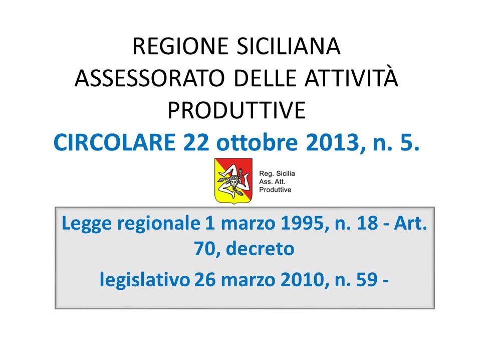 REGIONE SICILIANA ASSESSORATO DELLE ATTIVITÀ PRODUTTIVE CIRCOLARE 22 ottobre 2013, n. 5. Legge regionale 1 marzo 1995, n. 18 - Art. 70, decreto legisl
