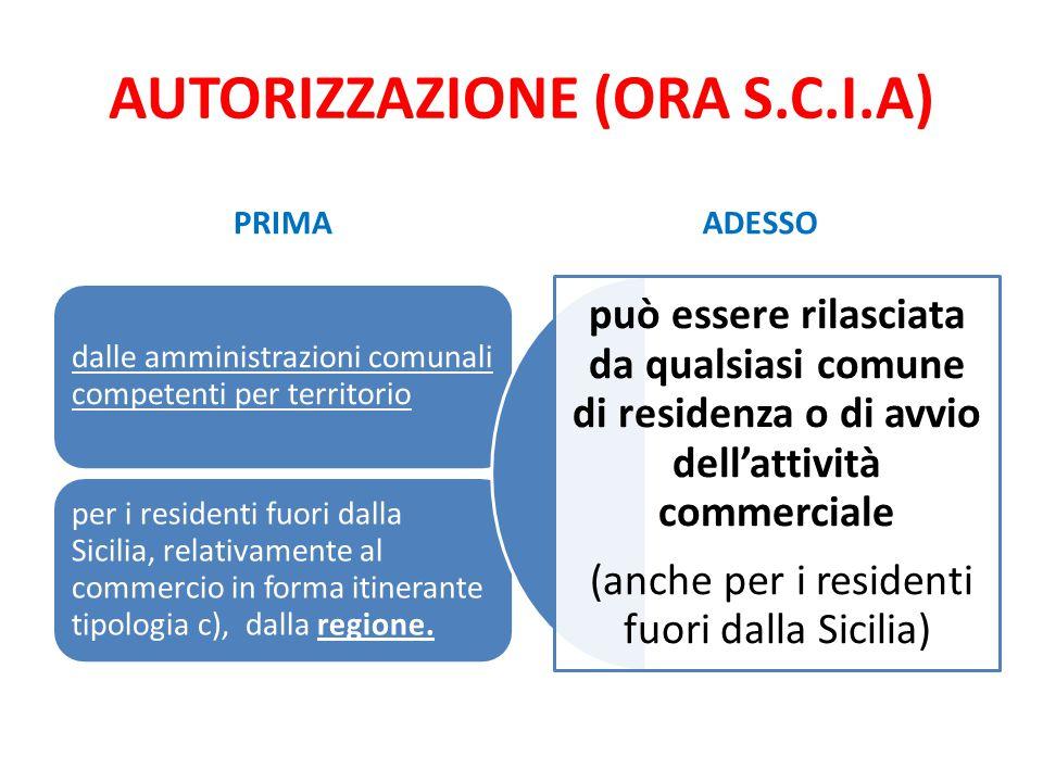 AUTORIZZAZIONE (ORA S.C.I.A) PRIMA dalle amministrazioni comunali competenti per territorio per i residenti fuori dalla Sicilia, relativamente al comm