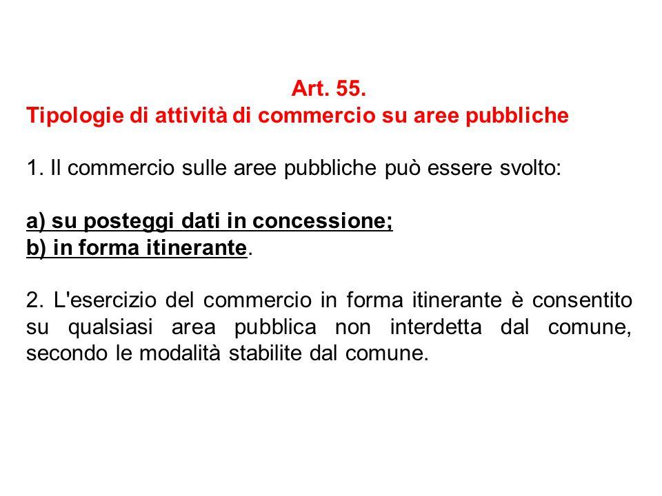 Art. 55. Tipologie di attività di commercio su aree pubbliche 1. Il commercio sulle aree pubbliche può essere svolto: a) su posteggi dati in concessio