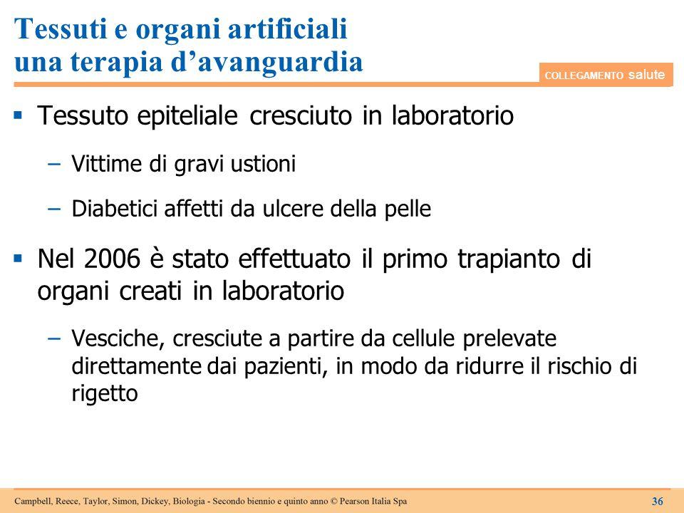 Tessuti e organi artificiali una terapia d'avanguardia  Tessuto epiteliale cresciuto in laboratorio −Vittime di gravi ustioni −Diabetici affetti da u