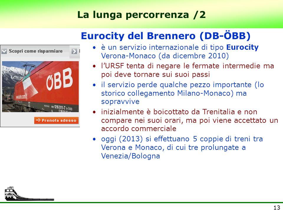 13 La lunga percorrenza /2 Eurocity del Brennero (DB-ÖBB) è un servizio internazionale di tipo Eurocity Verona-Monaco (da dicembre 2010) l'URSF tenta di negare le fermate intermedie ma poi deve tornare sui suoi passi il servizio perde qualche pezzo importante (lo storico collegamento Milano-Monaco) ma sopravvive inizialmente è boicottato da Trenitalia e non compare nei suoi orari, ma poi viene accettato un accordo commerciale oggi (2013) si effettuano 5 coppie di treni tra Verona e Monaco, di cui tre prolungate a Venezia/Bologna