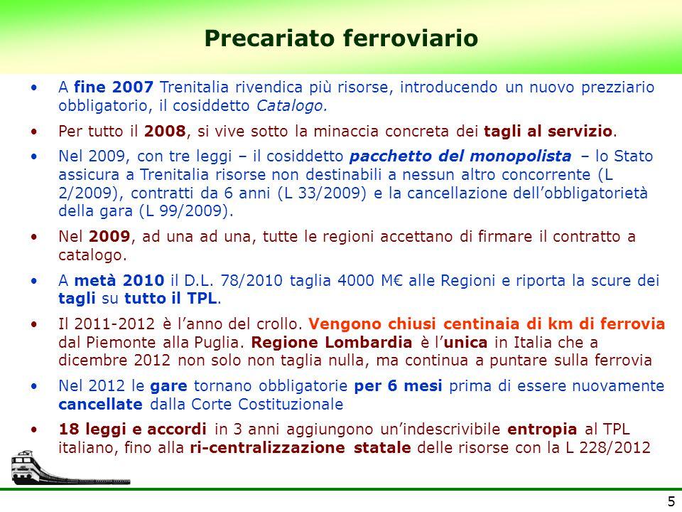 5 Precariato ferroviario A fine 2007 Trenitalia rivendica più risorse, introducendo un nuovo prezziario obbligatorio, il cosiddetto Catalogo.