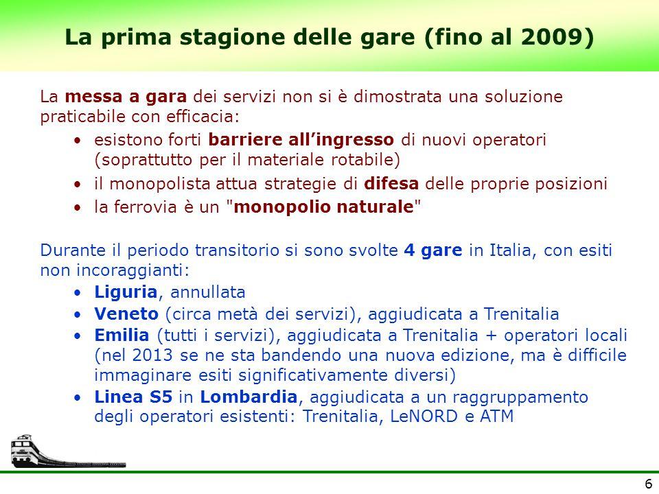 7 Gli esiti delle gare ferroviarie - La linea S5 Linea S5 Varese - Milano Passante - Treviglio (2005) E' stata l'unica gara che ha risolto alla radice il problema del materiale rotabile: la Regione mette gratuitamente a disposizione dell'aggiudicatario 15 nuovi treni (investimento di 108 mln €) Ciò nonostante, l'unica offerta valida è stata il cartello degli operatori preesistenti (Trenitalia, LeNORD, ATM); l'unica altra offerta presentata (Connex, oggi Veolia) non è ammessa per un inspiegabile vizio di forma: manca il sigillo di ceralacca sulla busta(!) Il ribasso d'asta del 15% e l'offerta di 2 treni aggiuntivi gratis dimostrano tuttavia che si era creata aspettativa di concorrenza: il monopolista temeva davvero di perdere.