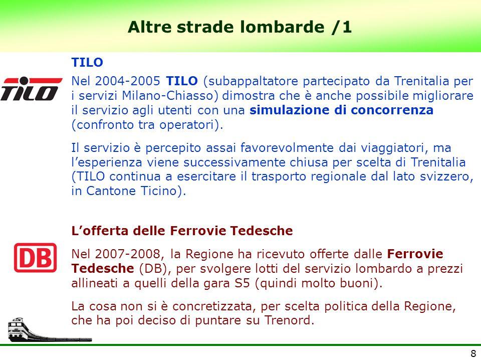 8 Altre strade lombarde /1 TILO Nel 2004-2005 TILO (subappaltatore partecipato da Trenitalia per i servizi Milano-Chiasso) dimostra che è anche possibile migliorare il servizio agli utenti con una simulazione di concorrenza (confronto tra operatori).
