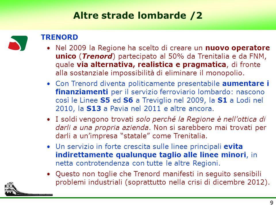 9 Altre strade lombarde /2 TRENORD Nel 2009 la Regione ha scelto di creare un nuovo operatore unico (Trenord) partecipato al 50% da Trenitalia e da FNM, quale via alternativa, realistica e pragmatica, di fronte alla sostanziale impossibilità di eliminare il monopolio.