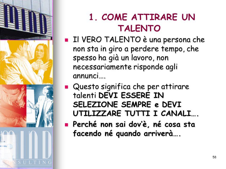 57 1. COME ATTIRARE UN TALENTO  Per attirare i talenti… …. DEVI CERCARLI !!!