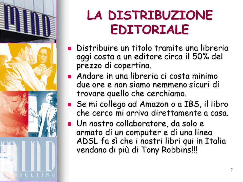 6 LA DISTRIBUZIONE EDITORIALE Distribuire un titolo tramite una libreria oggi costa a un editore circa il 50% del prezzo di copertina.