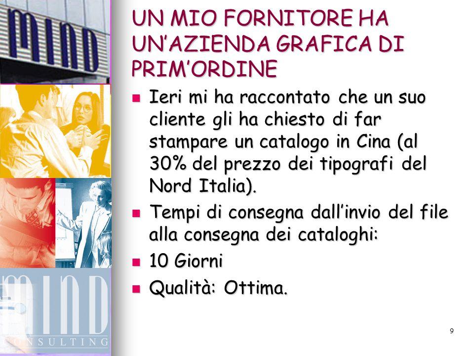 9 UN MIO FORNITORE HA UN'AZIENDA GRAFICA DI PRIM'ORDINE Ieri mi ha raccontato che un suo cliente gli ha chiesto di far stampare un catalogo in Cina (al 30% del prezzo dei tipografi del Nord Italia).