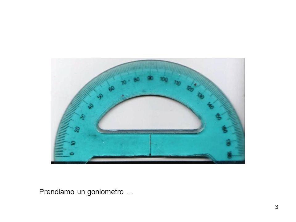 4 … e lo posizioniamo in modo che il vertice dell'angolo sia nel centro del goniometro e che un lato dell'angolo coincida con gli 0° del goniometro.