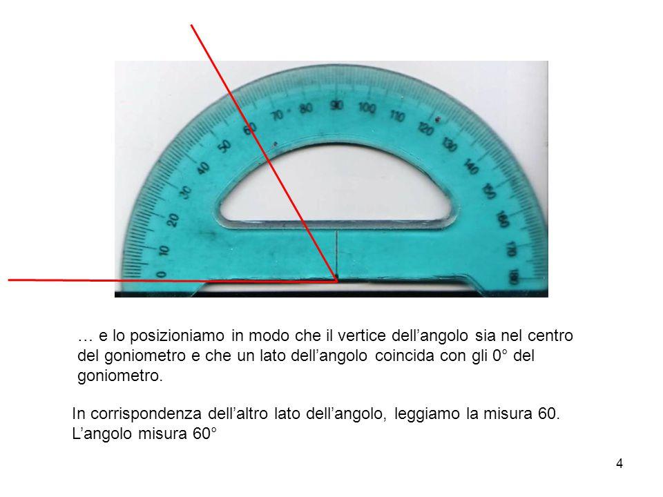 4 … e lo posizioniamo in modo che il vertice dell'angolo sia nel centro del goniometro e che un lato dell'angolo coincida con gli 0° del goniometro. I