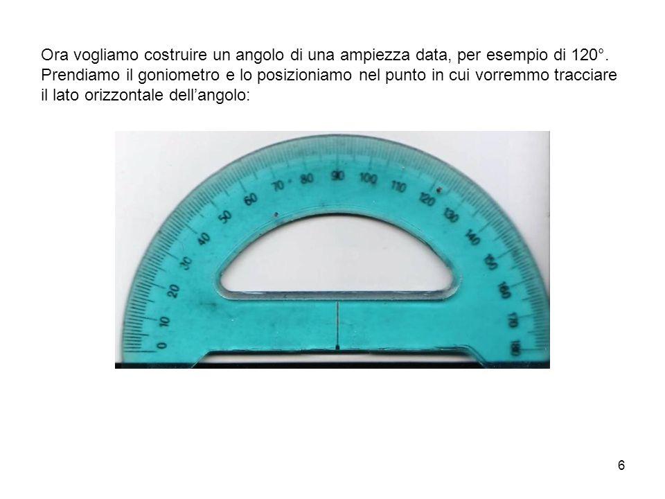 7 Tracciamo, sul foglio, un riferimento in corrispondenza del centro del goniometro, un riferimento in corrispondenza della misura 0° e un altro riferimento in corrispondenza della misura 120°: