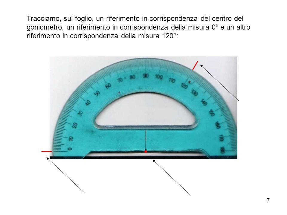 8 Poi togliamo il goniometro … … e uniamo i riferimenti: