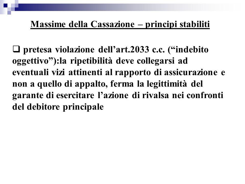 """Massime della Cassazione – principi stabiliti  pretesa violazione dell'art.2033 c.c. (""""indebito oggettivo""""):la ripetibilità deve collegarsi ad eventu"""