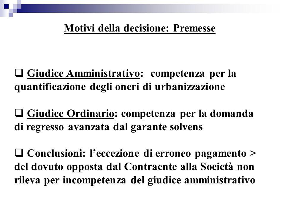 Motivi della decisione: Premesse  Giudice Amministrativo: competenza per la quantificazione degli oneri di urbanizzazione  Giudice Ordinario: compet