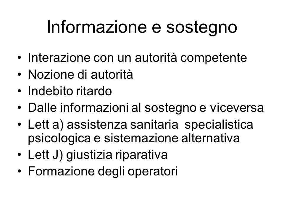 Informazione e sostegno Interazione con un autorità competente Nozione di autorità Indebito ritardo Dalle informazioni al sostegno e viceversa Lett a)