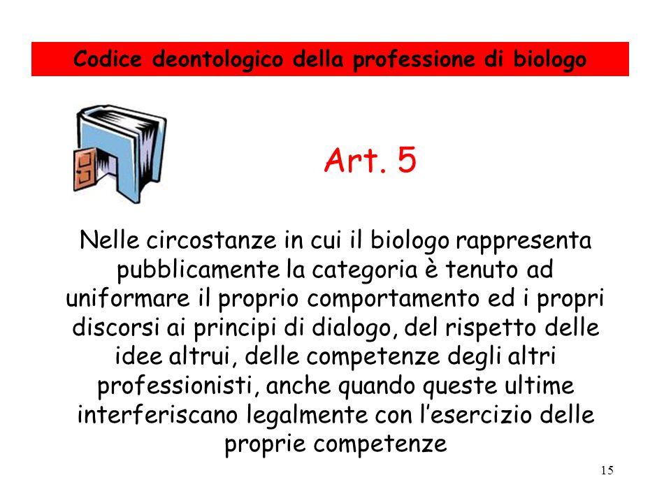 15 Nelle circostanze in cui il biologo rappresenta pubblicamente la categoria è tenuto ad uniformare il proprio comportamento ed i propri discorsi ai