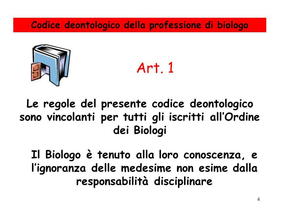 4 Le regole del presente codice deontologico sono vincolanti per tutti gli iscritti all'Ordine dei Biologi Art. 1 Il Biologo è tenuto alla loro conosc