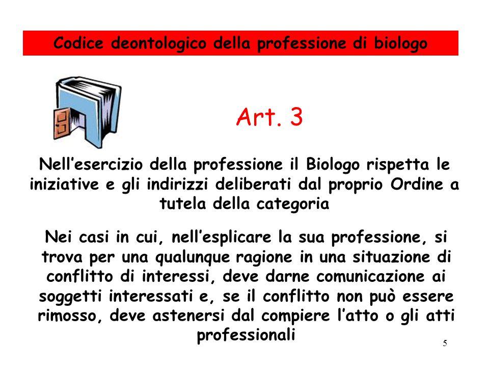 5 Nell'esercizio della professione il Biologo rispetta le iniziative e gli indirizzi deliberati dal proprio Ordine a tutela della categoria Nei casi i