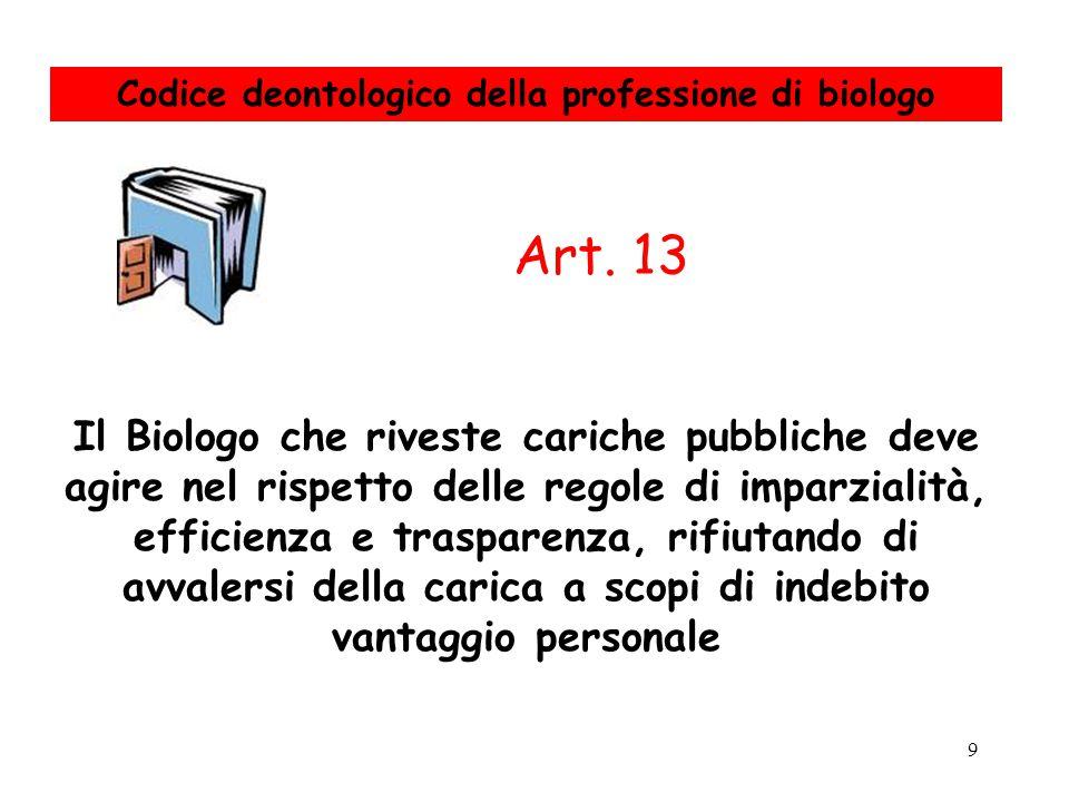 9 Il Biologo che riveste cariche pubbliche deve agire nel rispetto delle regole di imparzialità, efficienza e trasparenza, rifiutando di avvalersi del