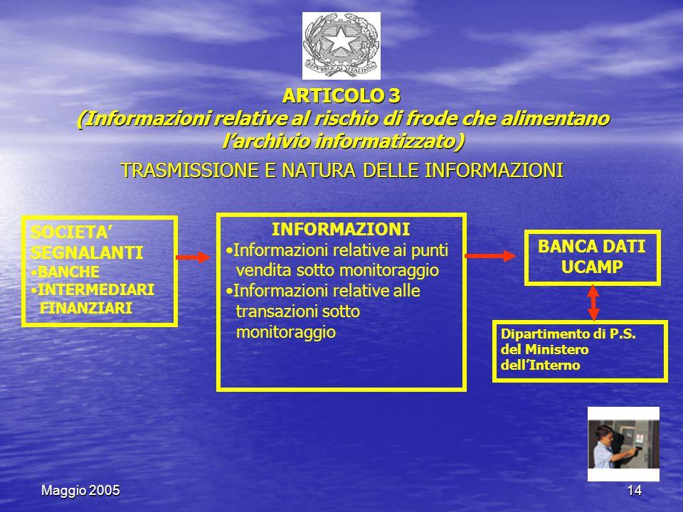 Maggio 200514 ARTICOLO 3 (Informazioni relative al rischio di frode che alimentano l'archivio informatizzato) TRASMISSIONE E NATURA DELLE INFORMAZIONI SOCIETA' SEGNALANTI BANCHE INTERMEDIARI FINANZIARI INFORMAZIONI Informazioni relative ai punti vendita sotto monitoraggio Informazioni relative alle transazioni sotto monitoraggio BANCA DATI UCAMP Dipartimento di P.S.