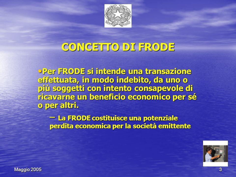 Maggio 20053 CONCETTO DI FRODE Per FRODE si intende una transazione effettuata, in modo indebito, da uno o più soggetti con intento consapevole di ricavarne un beneficio economico per sé o per altri.