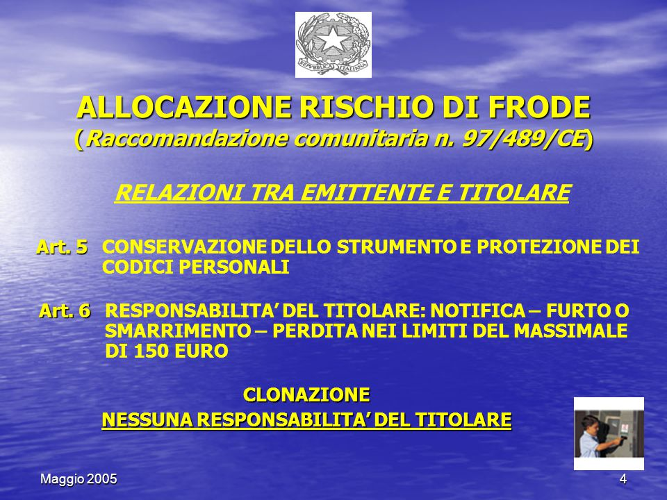 Maggio 200515 APERTURA MONITORAGGIO, COME PERIODO DI CONDIVISIONE DELLE INFORMAZIONI PER TUTTI SERVIZIO FRODI SOCIETA' A SERVIZIO FRODI SOCIETA' D SERVIZIO FRODI SOCIETA' C SERVIZIO FRODI SOCIETA' B PUNTO VENDITA TIZIO CONVENZIONATO CON LA SOCIETA' A BANCA DATI UCAMP CONDIVISIONE INFORMAZIONI transazioni anomale sul POS di tizio che Hanno sforato i parametri UCAMP APERTURA MONITORAGGIO CON INVIO DELLE INFORMAZIONI