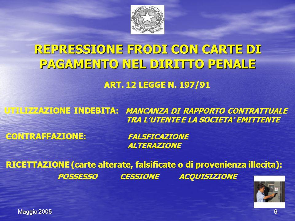 Maggio 200517 ARTICOLO 5 (Scambio di dati con la Banca d'italia) BANCA D'ITALIA CAI (Centrale d'allarme interbancaria) MINISTERO ECONOMIA E FINANZE UCAMP (Prevenzione frodi carte pagamento)