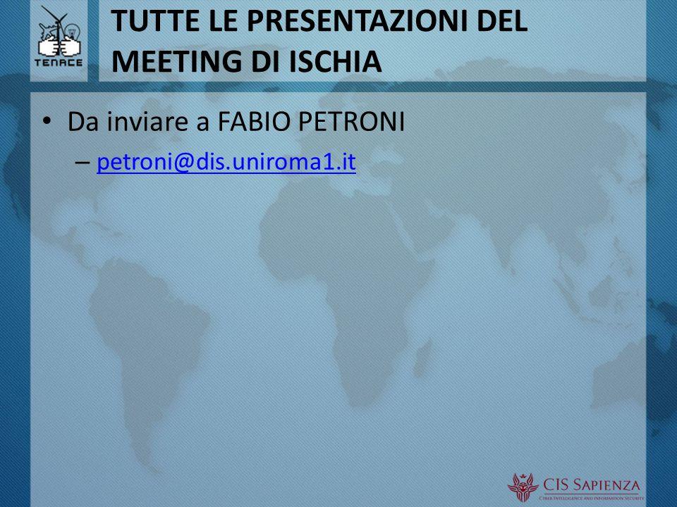 TUTTE LE PRESENTAZIONI DEL MEETING DI ISCHIA Da inviare a FABIO PETRONI – petroni@dis.uniroma1.it petroni@dis.uniroma1.it