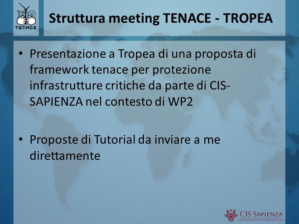 Struttura meeting TENACE - TROPEA Presentazione a Tropea di una proposta di framework tenace per protezione infrastrutture critiche da parte di CIS- SAPIENZA nel contesto di WP2 Proposte di Tutorial da inviare a me direttamente