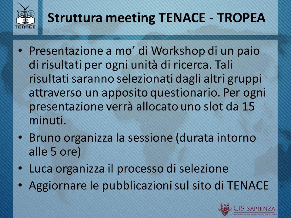 Struttura meeting TENACE - TROPEA Presentazione a mo' di Workshop di un paio di risultati per ogni unità di ricerca.