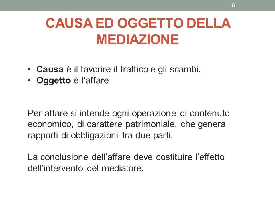 CAUSA ED OGGETTO DELLA MEDIAZIONE 6 Causa è il favorire il traffico e gli scambi. Oggetto è l'affare Per affare si intende ogni operazione di contenut