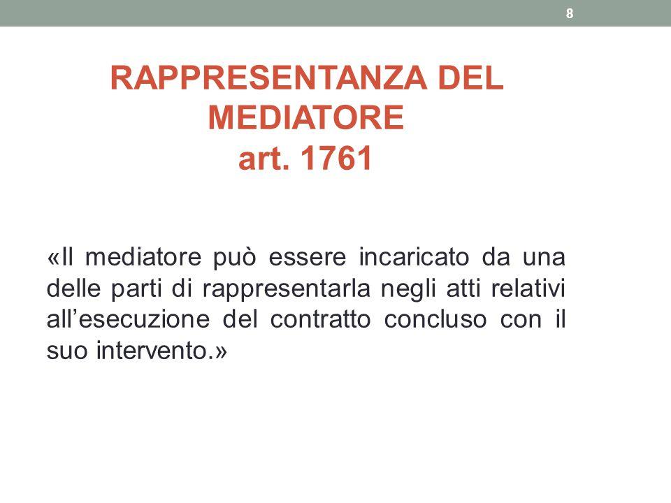 RAPPRESENTANZA DEL MEDIATORE art. 1761 «Il mediatore può essere incaricato da una delle parti di rappresentarla negli atti relativi all'esecuzione del