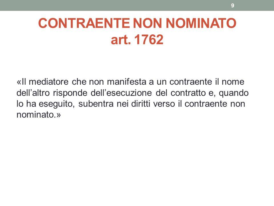 CONTRAENTE NON NOMINATO art. 1762 «Il mediatore che non manifesta a un contraente il nome dell'altro risponde dell'esecuzione del contratto e, quando