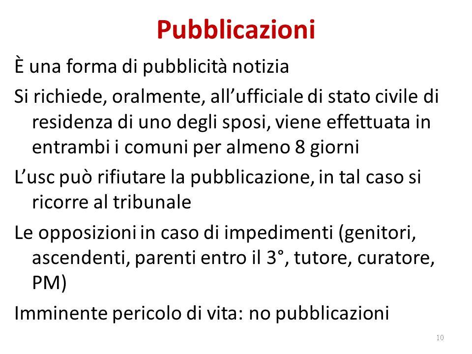 Pubblicazioni È una forma di pubblicità notizia Si richiede, oralmente, all'ufficiale di stato civile di residenza di uno degli sposi, viene effettuat