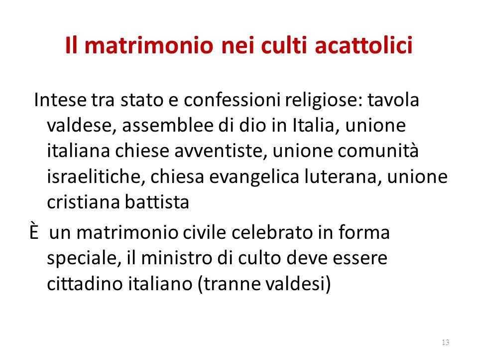Il matrimonio nei culti acattolici Intese tra stato e confessioni religiose: tavola valdese, assemblee di dio in Italia, unione italiana chiese avvent