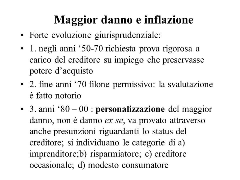 Maggior danno e inflazione Forte evoluzione giurisprudenziale: 1. negli anni '50-70 richiesta prova rigorosa a carico del creditore su impiego che pre