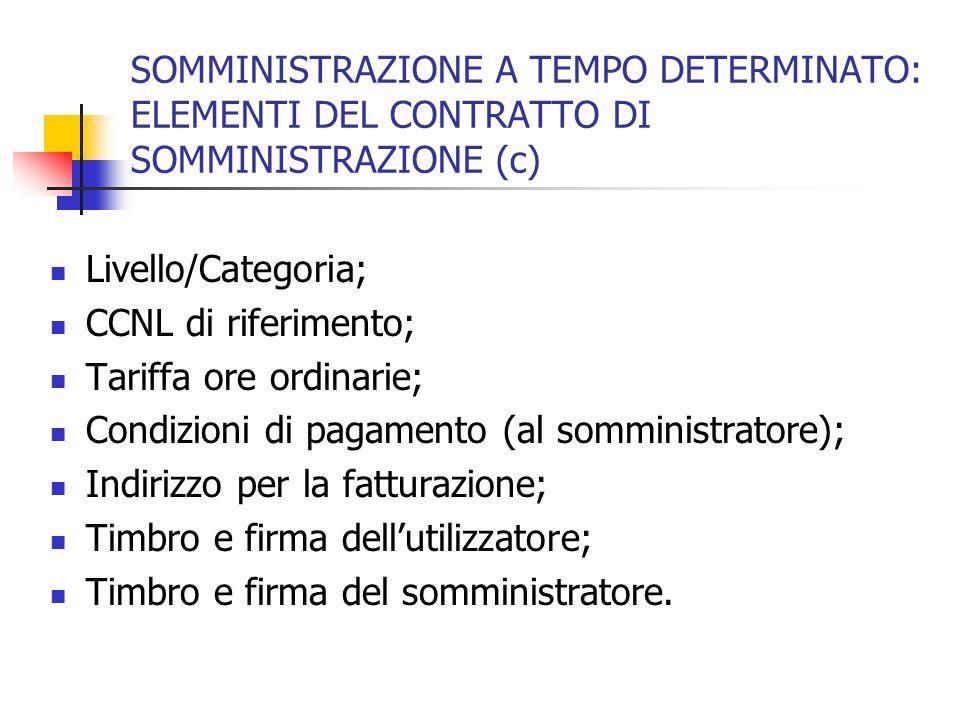 SOMMINISTRAZIONE A TEMPO DETERMINATO: ELEMENTI DEL CONTRATTO DI SOMMINISTRAZIONE (c) Livello/Categoria; CCNL di riferimento; Tariffa ore ordinarie; Co